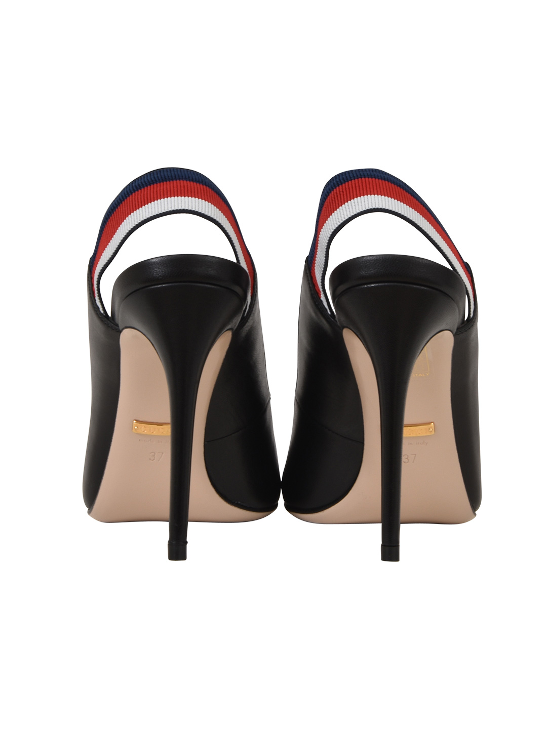 bfcd6c6a112 Gucci Sylvie Leather Web Slingback Pumps In Black