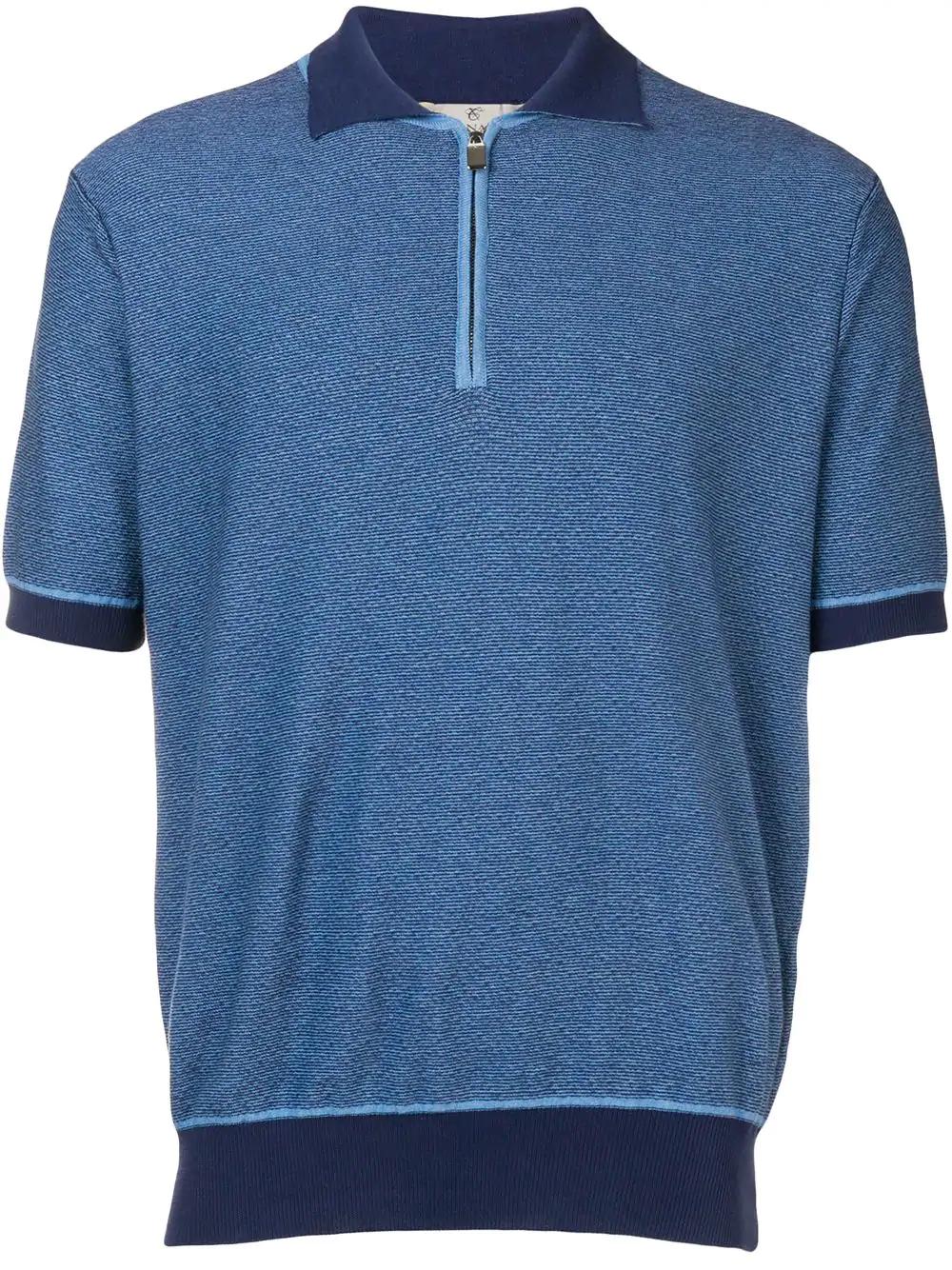 a695cbb6b Canali Contrast Trim Polo Shirt - Blue