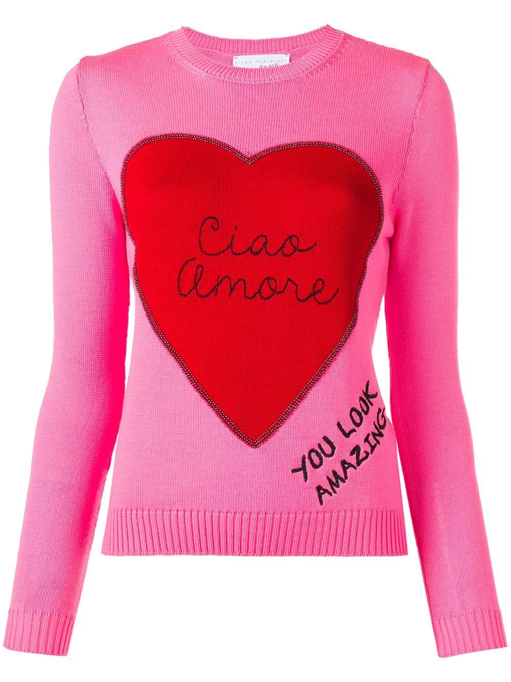 Giada Benincasa Ciao Amore Patch Sweater Pink Modesens