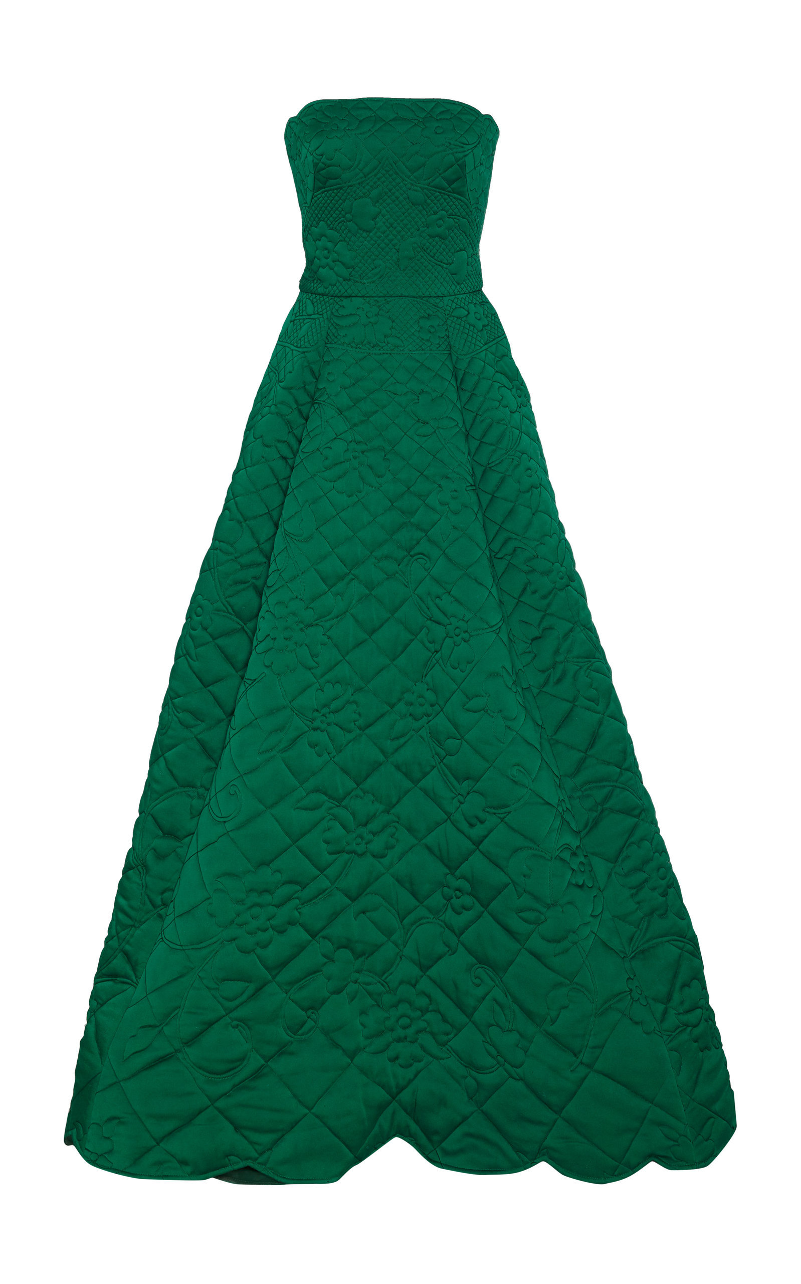 Quilted Strapless Satin Gown In Green