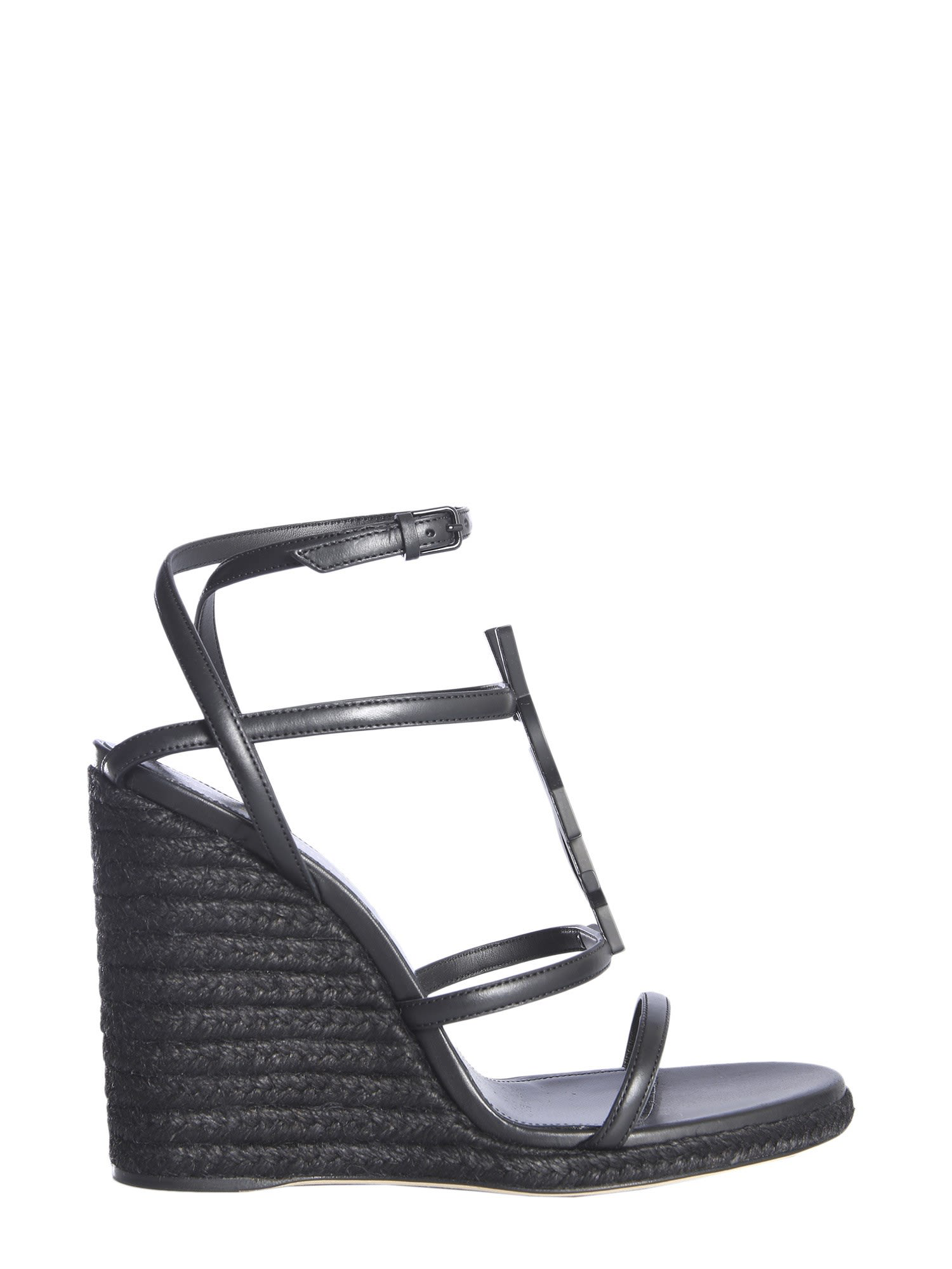 df0f80f33 Saint Laurent Cassandra Wedge Espadrilles With Black Logo In Leather ...