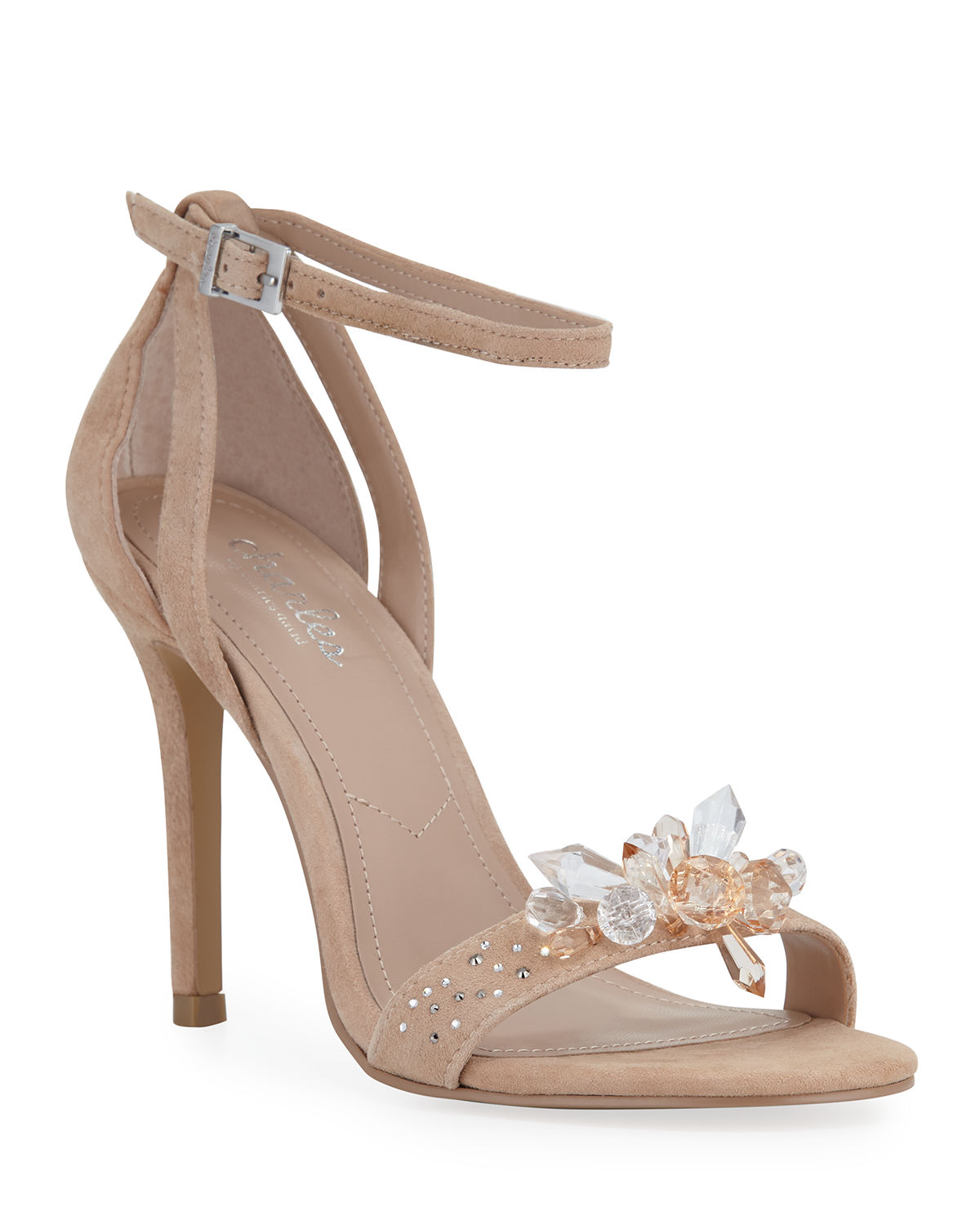 c156f9e3e89a Charles By Charles David Rainey Jeweled Suede Ankle-Strap Sandals In Nude