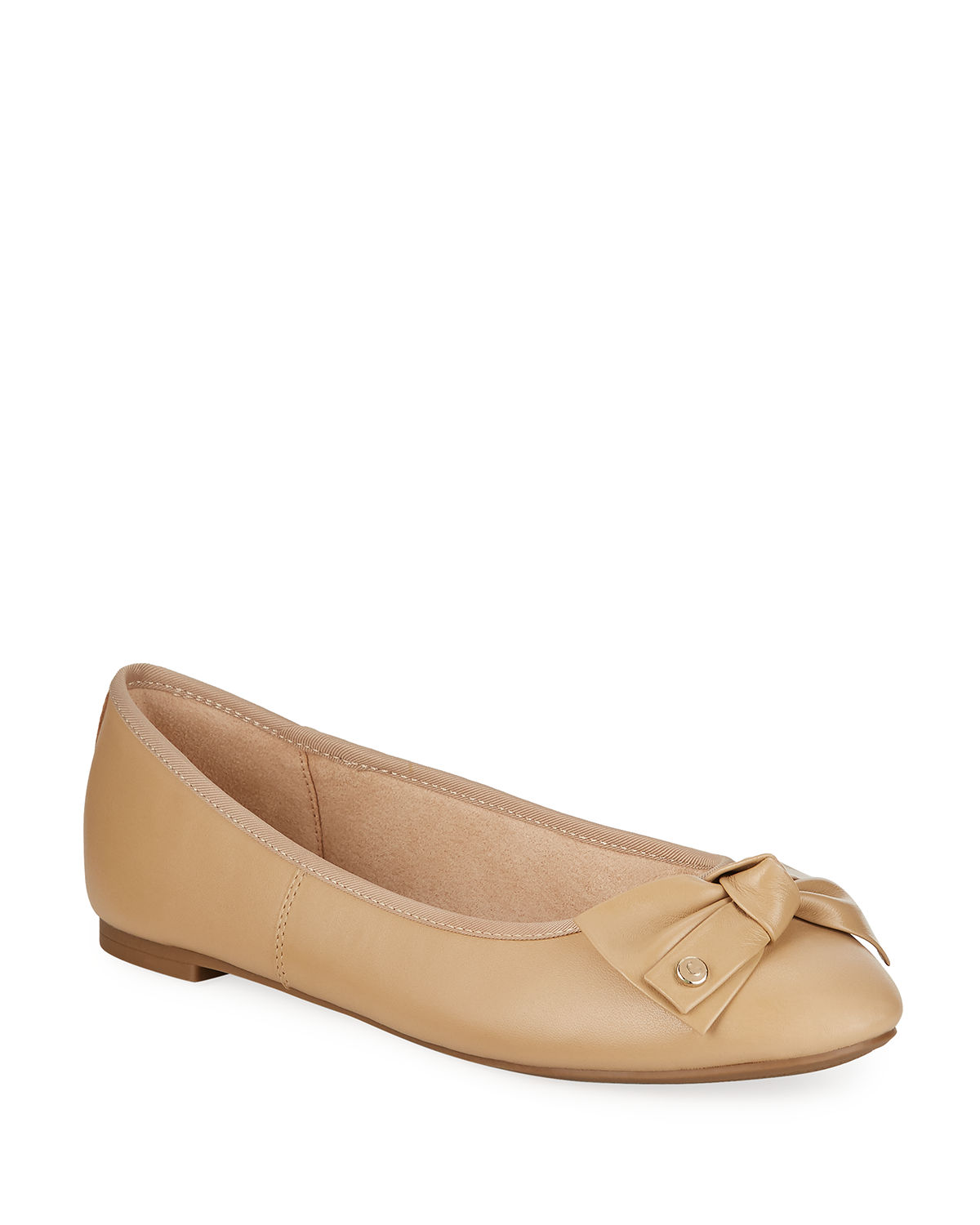 307e613cc Circus By Sam Edelman Connie Leather Bow Flats In Classic Nude ...