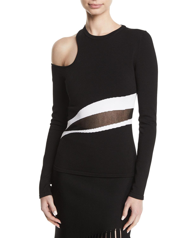 b7f44ec745082 Cushnie Et Ochs Sarina Long Sleeved Single Cold Shoulder Top In Black