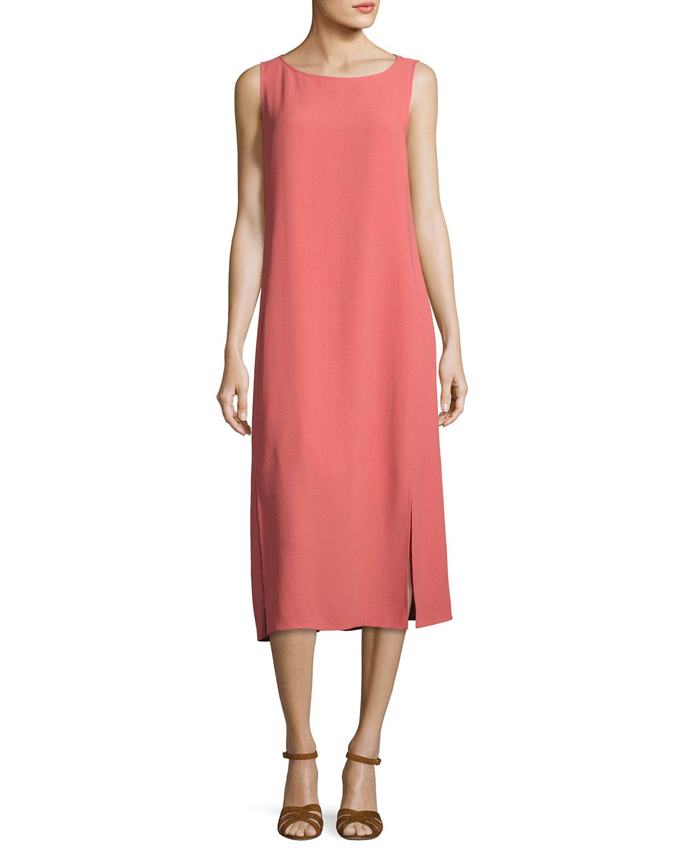 Silk Georgette Crepe Midi Tank Dress, Plus Size in Coral