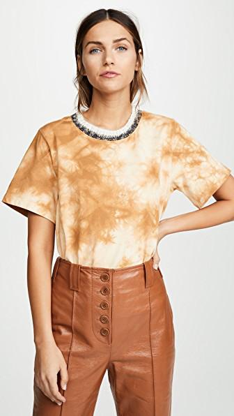 a43ab25ca8cf 3.1 Phillip Lim Wool-Trimmed Tie-Dye Cotton-Jersey T-Shirt In Beige ...