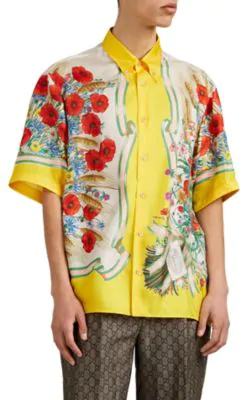 8813d10386064d Gucci Button-Down Collar Embroidered And Printed Silk-Satin Shirt - Yellow  In Multicoloured