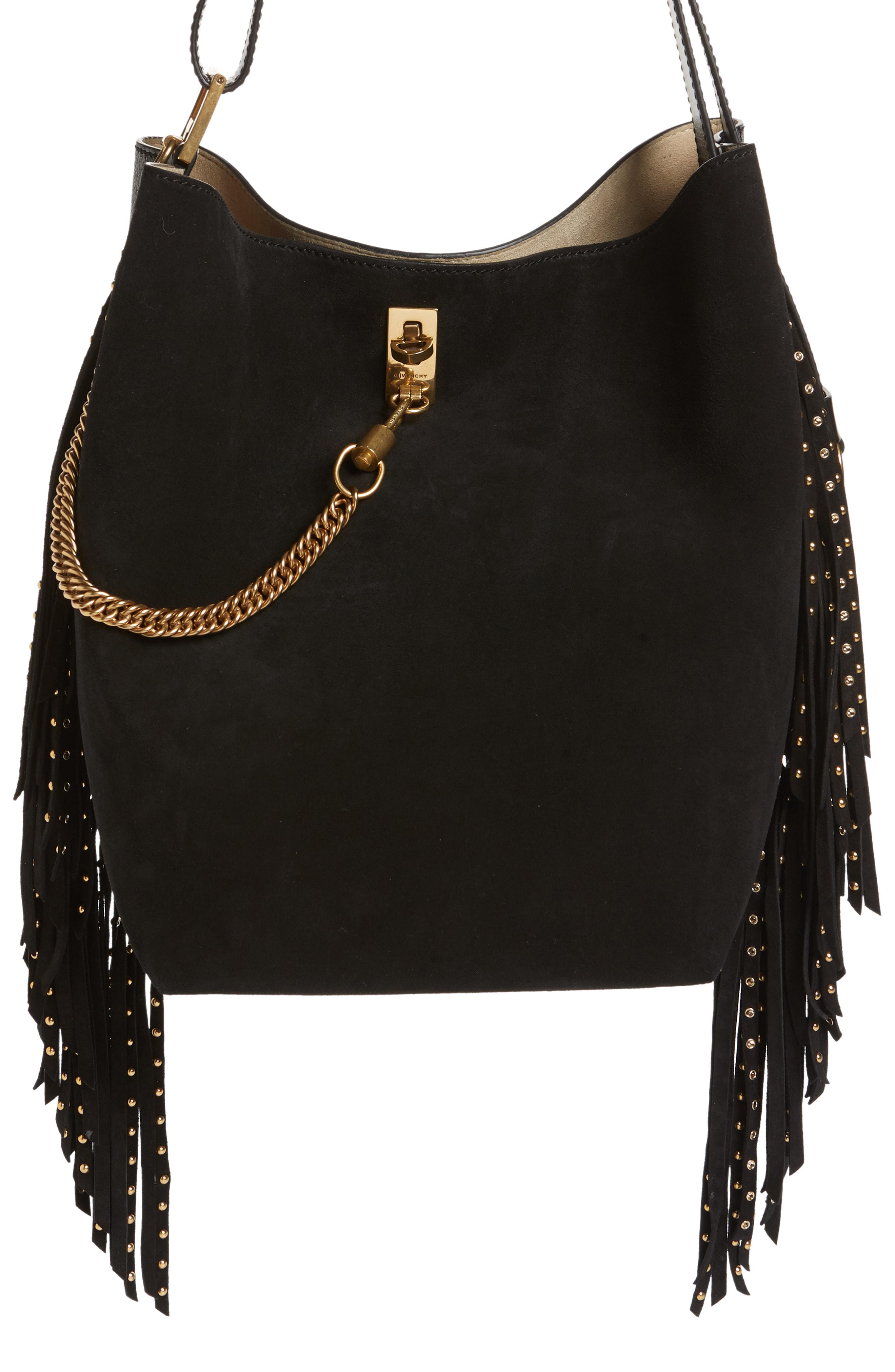 1a68f81450 Givenchy Medium Gv Studded Fringe Calfskin Bucket Bag - Black