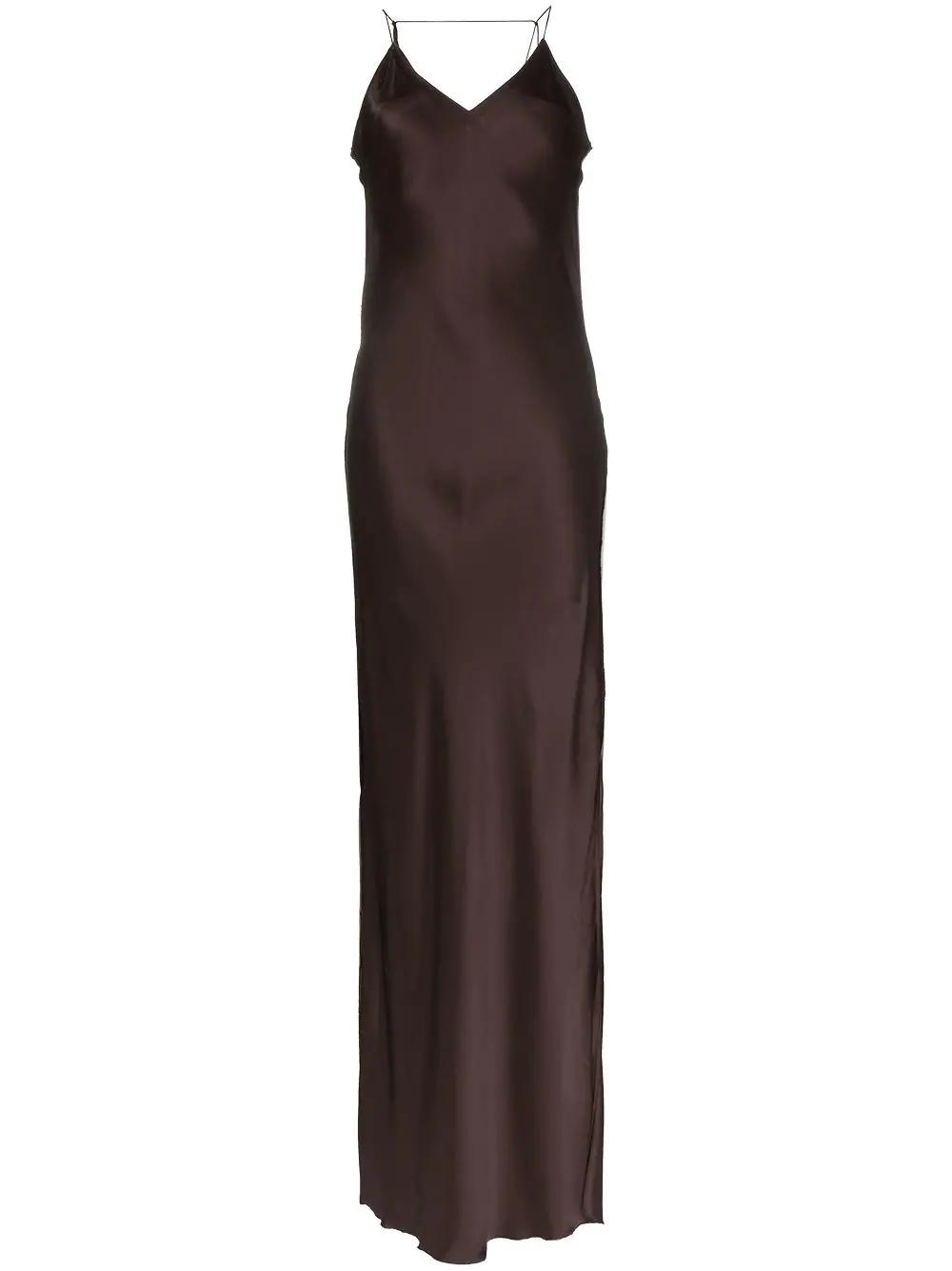 4a6be15b40d4 Helmut Lang Satin Slip Dress - Brown | ModeSens