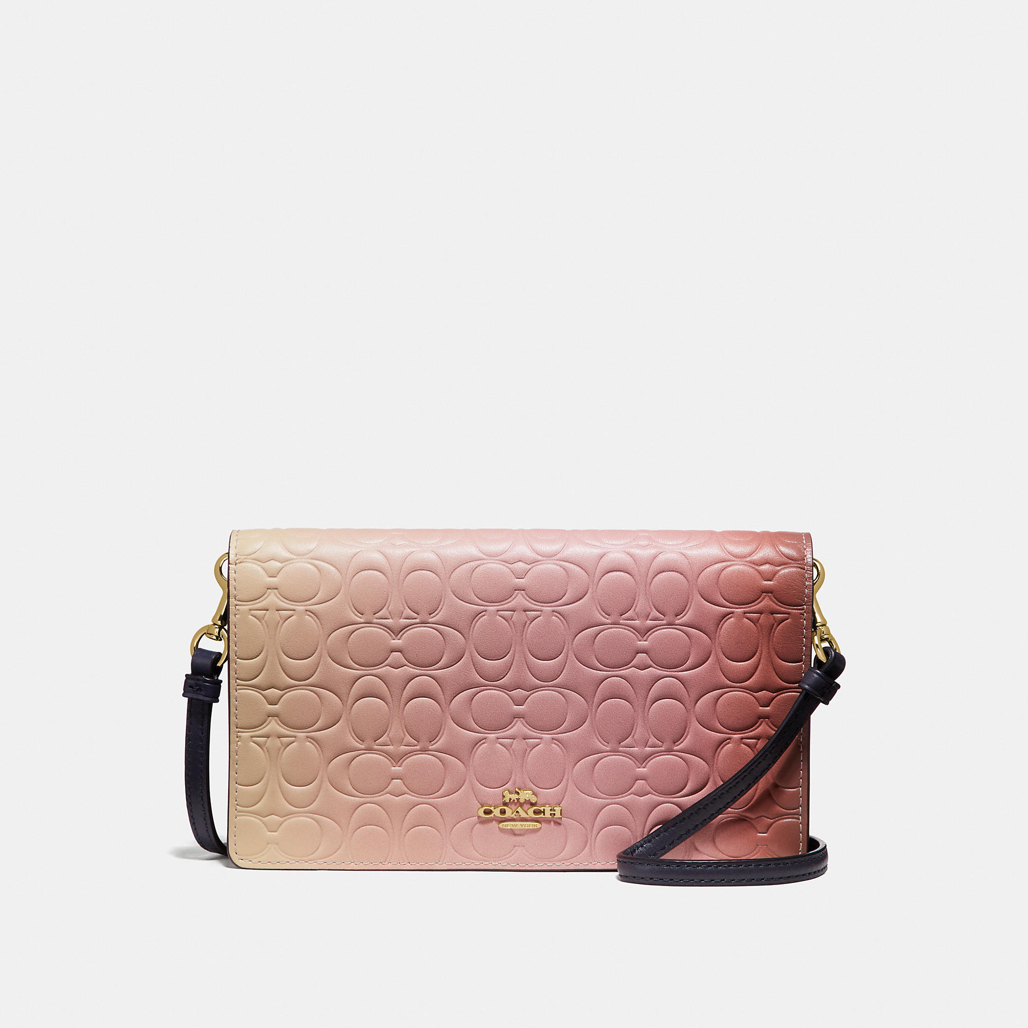 5871698468fc Coach Hayden Foldover Crossbody Clutch In Ombre Signature Leather In Pink  Multi Gold