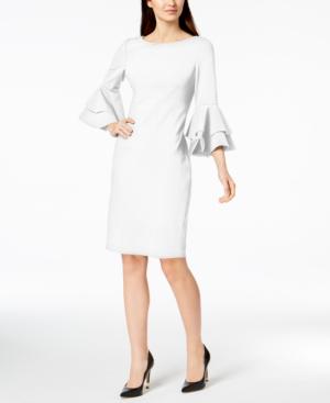39fc0b79 Calvin Klein Tiered-Bell-Sleeve Sheath Dress In White | ModeSens