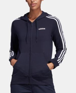 dbac49d8 Adidas Essentials 3-Stripe Zip Hoodie in Legend Ink/White