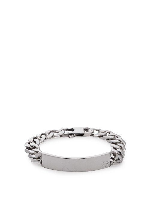 68524b260be82 Bottega Veneta - Logo Engraved Chain Link Bracelet - Mens - Silver
