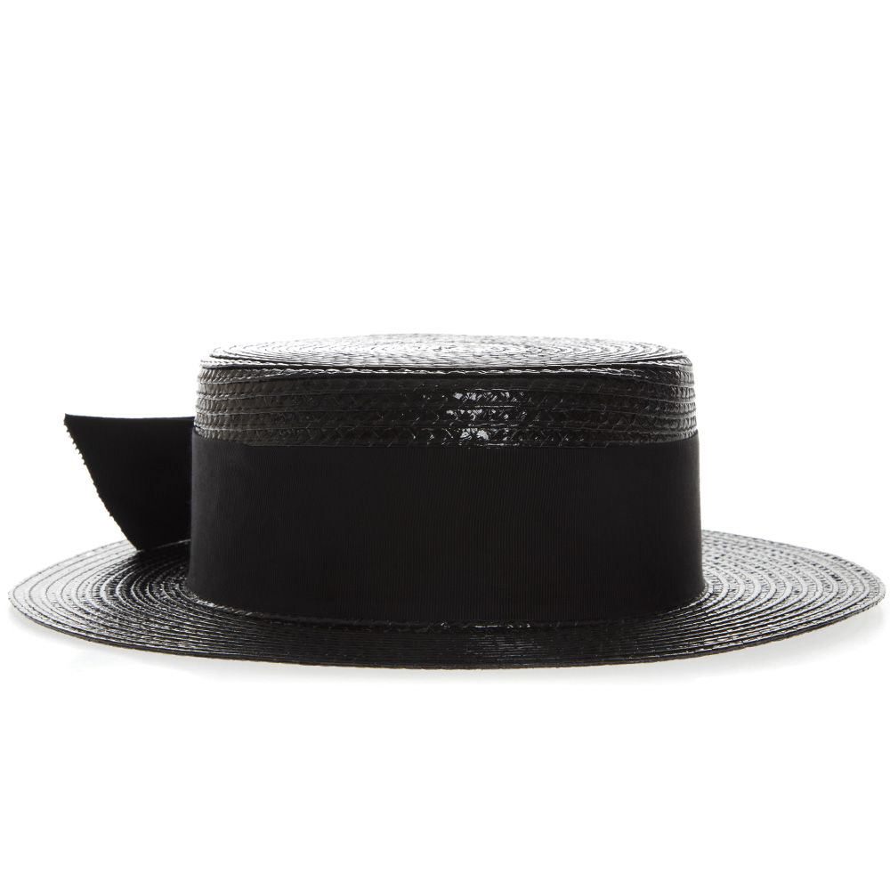 697d8a40b0a Saint Laurent Small Boater Hat In Varnished Straw In Black | ModeSens