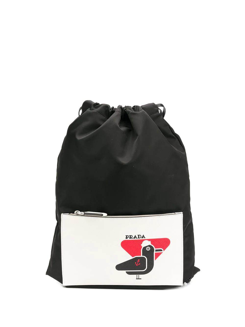 4991a39ed8ac Prada Bird Patch Drawstring Backpack - Black | ModeSens
