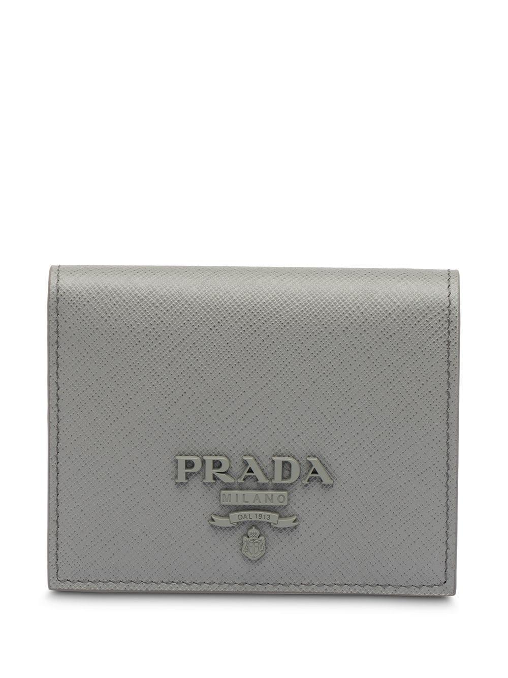 5c7960c3c41a Prada Small Saffiano Leather Wallet - Grey | ModeSens