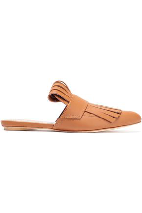 Marni Woman Fringed Glossed-Leather Slippers Light Brown