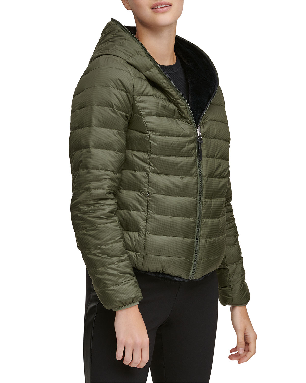 7ff9f284750 Marc New York Reversible Faux-Fur Hooded Puffer Coat In Green | ModeSens