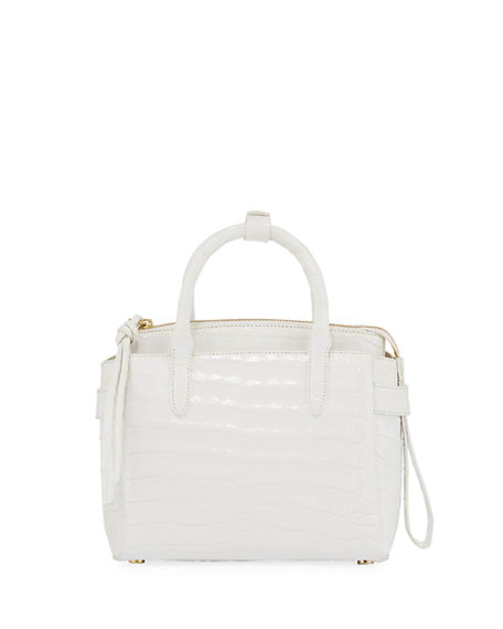 Nancy Gonzalez Cristy Small Crocodile Satchel Bag In White