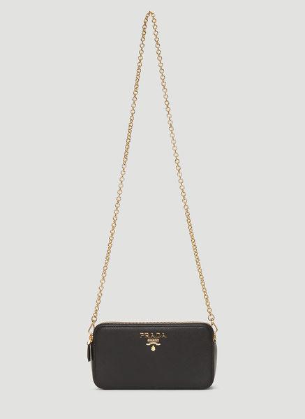 79433350e670 Prada Saffiano Leather Mini Shoulder Bag In Black