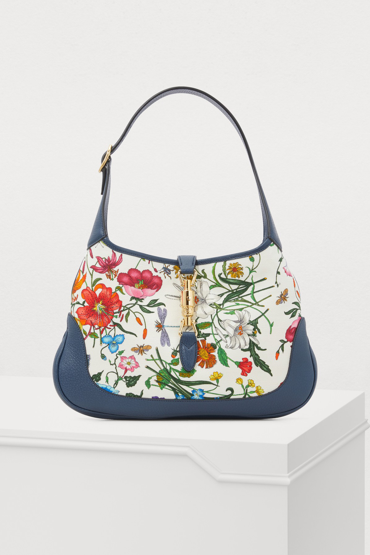 421fa05986d Gucci Jackie Hobo Medium Floral-Print Canvas And Textured-Leather Shoulder  Bag In Blue