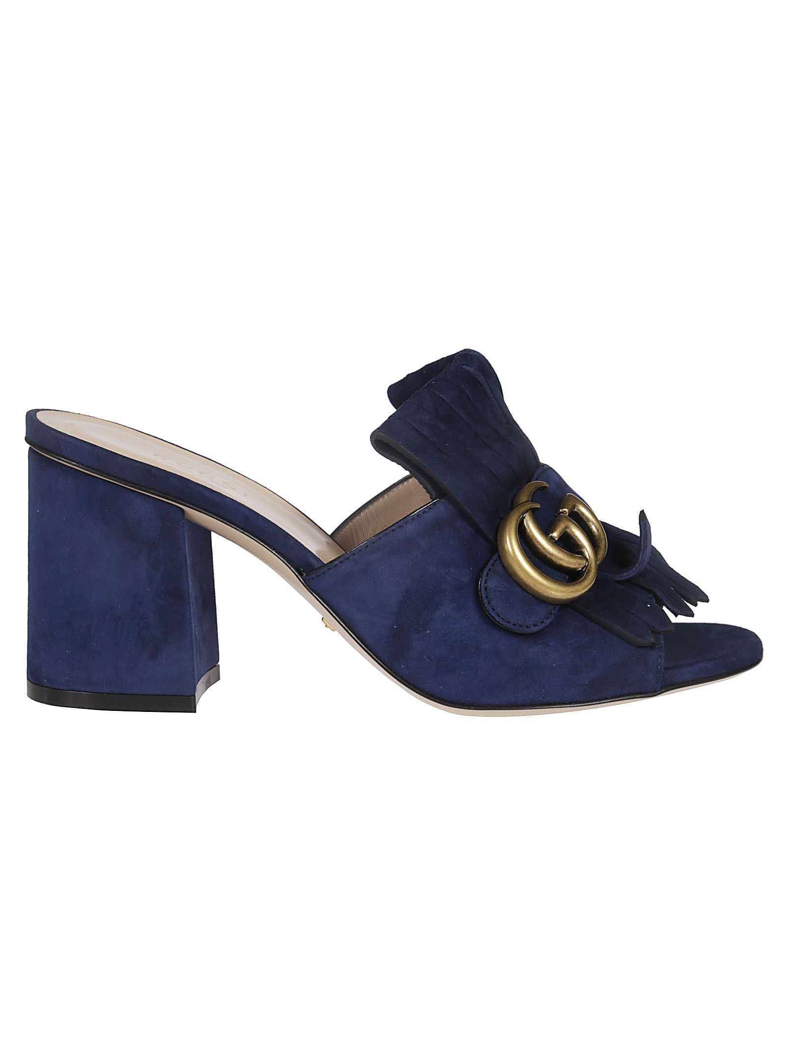 9c14a42d3b0a Gucci Gg Mid-Heel Fringed Marmont Mules In Blue In 4140 Navy | ModeSens