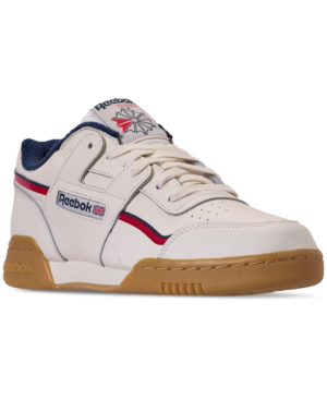 a79a29a613c Reebok Men s Workout Plus Mu Casual Sneakers From Finish Line In Classic  White Collegiate