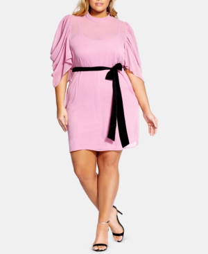 City Chic Trendy Plus Size Kimono-Sleeve Fit & Flare Dress In ...