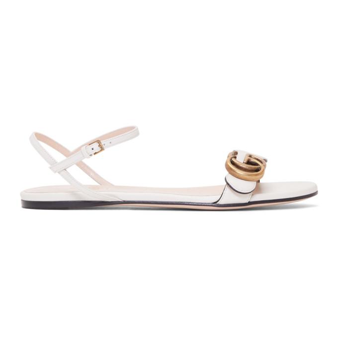 3b67d55c5cbf Gucci Marmont Flat Double-G Leather Sandals