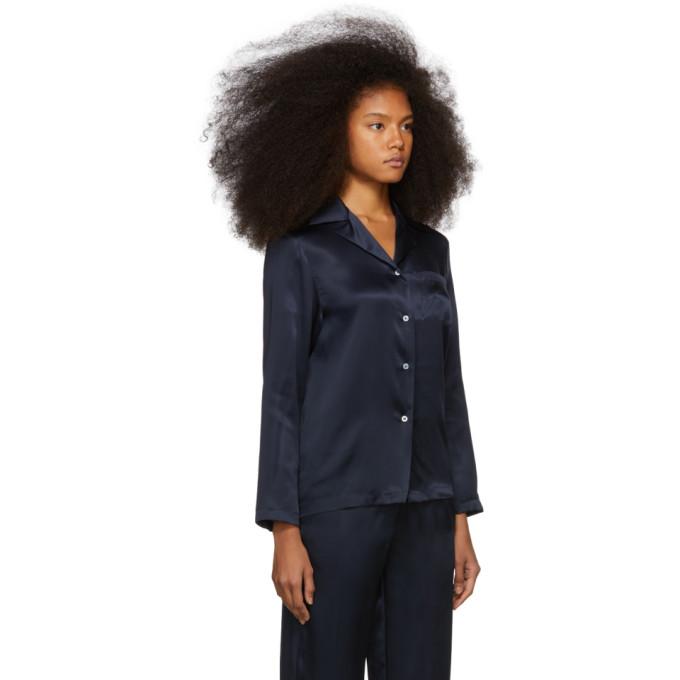 04f683a6fb0fd Mansur Gavriel Navy Silk Flowy Pajama Shirt In Blu