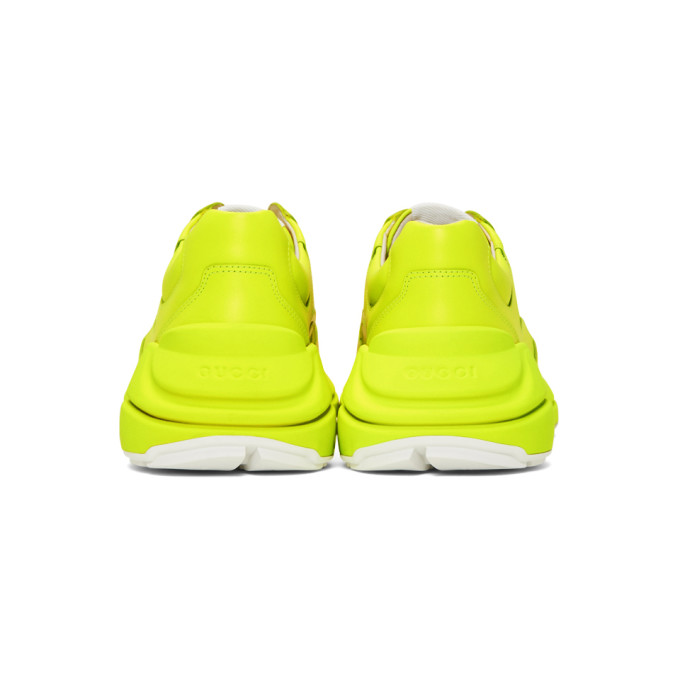 Gucci Men's Rhyton Fluorescent Leather Sneakers In 7205 Yellow Flou