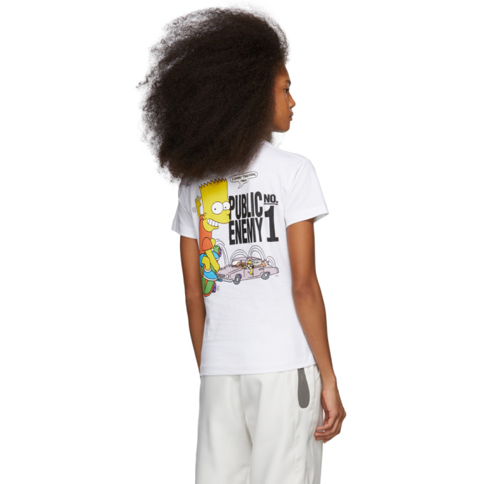 5a6786b7ab2 Off-White White Bart  Public Enemy  Skinny T-Shirt In White Multi ...