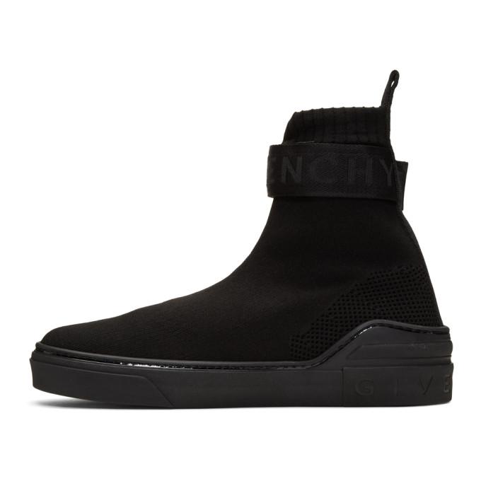 Givenchy Logo-Strap Sock Sneakers In Black
