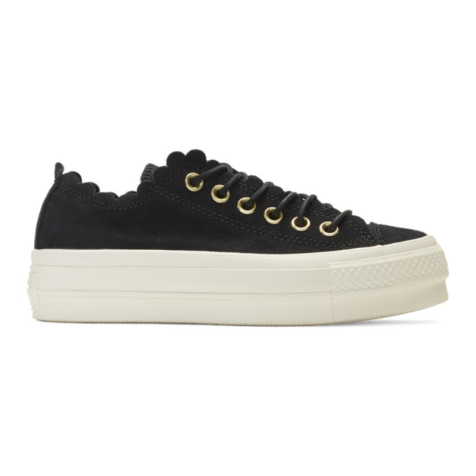 fc5de9ae96e8 Converse Black Suede Chuck Taylor All Star Lift Frilly Thrills Sneakers.  SSENSE