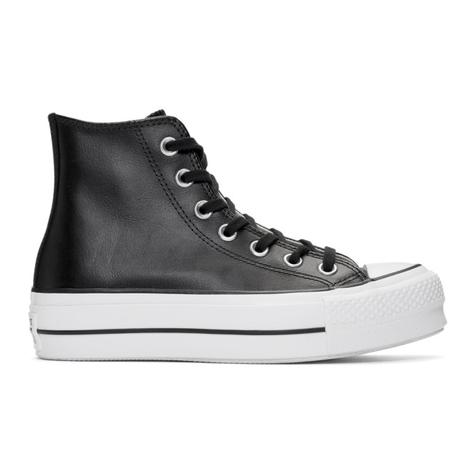 a7920b3057290d Converse Black Leather Chuck Taylor All Star Lift Clean Sneakers ...