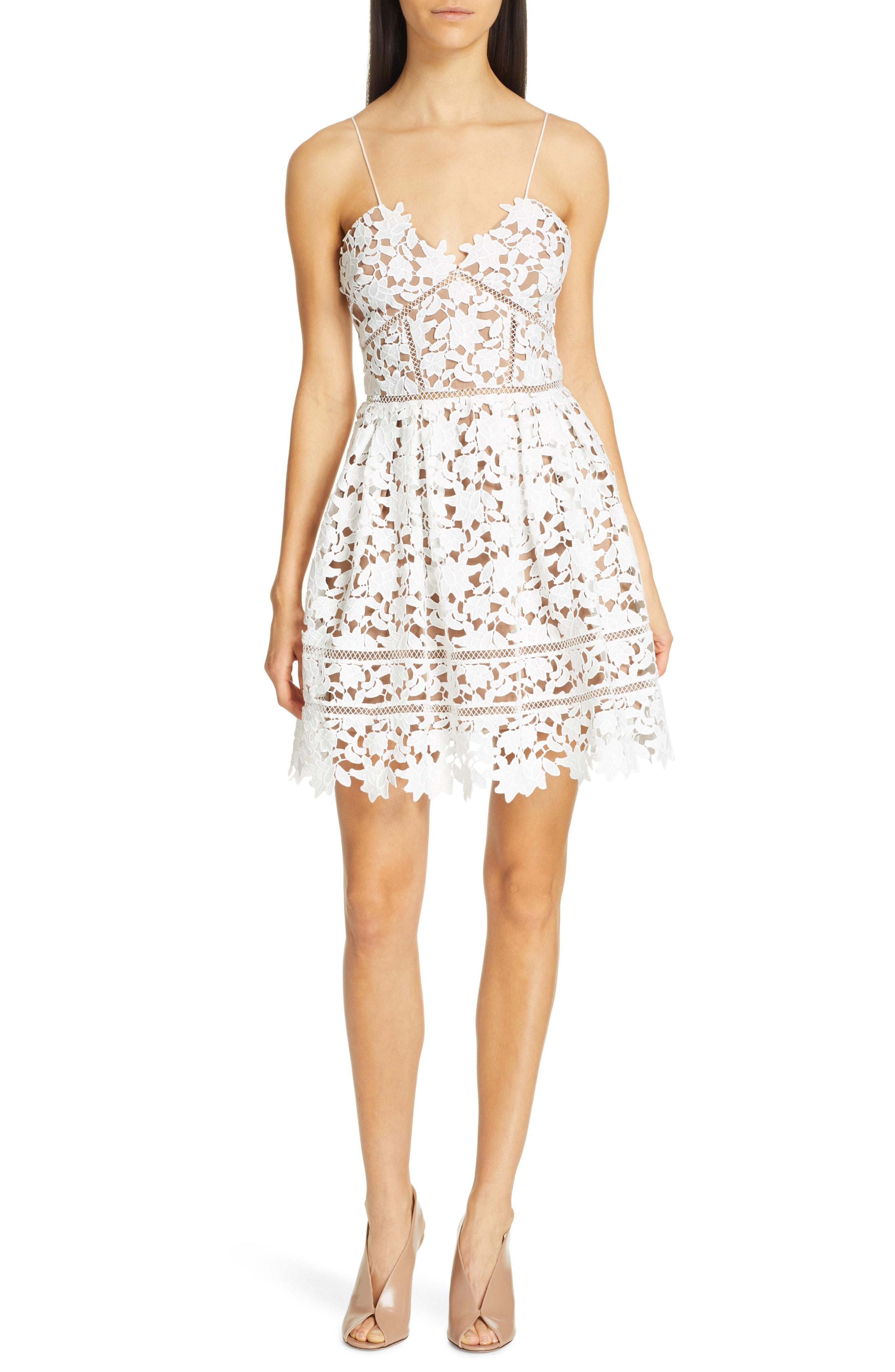 4c0f3e3829d Self-Portrait Azaelea Floral Lace Sleeveless Mini Dress In White ...