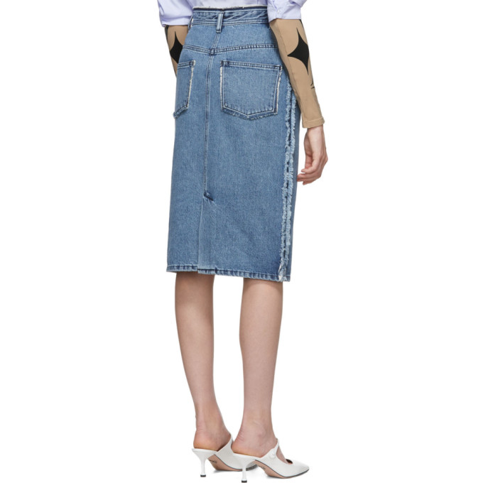 d8f696758d1652 Acne Studios Ilyssia Den Distressed High-Rise Denim Midi Skirt In 863-Mid  Blue