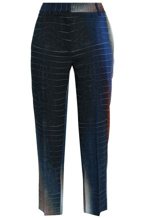Roberto Cavalli Woman Cropped Printed Crepe Tapered Pants Charcoal