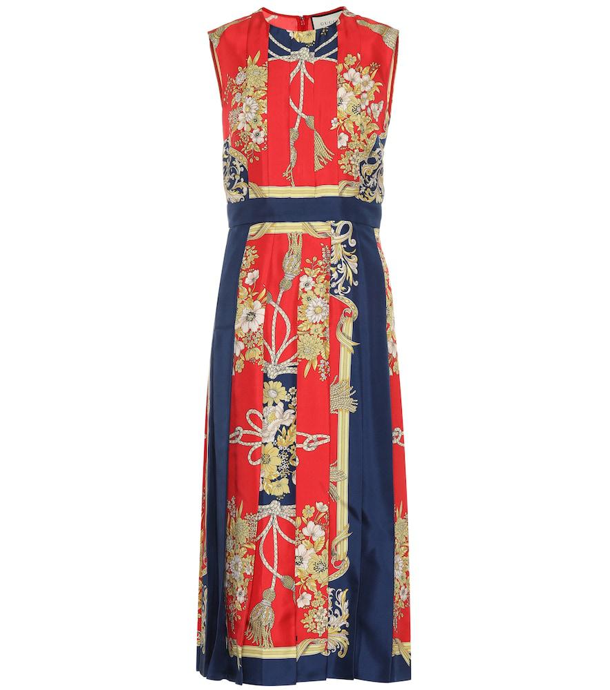 b135b28d8 Gucci Printed Silk Midi Dress In Red Print   ModeSens