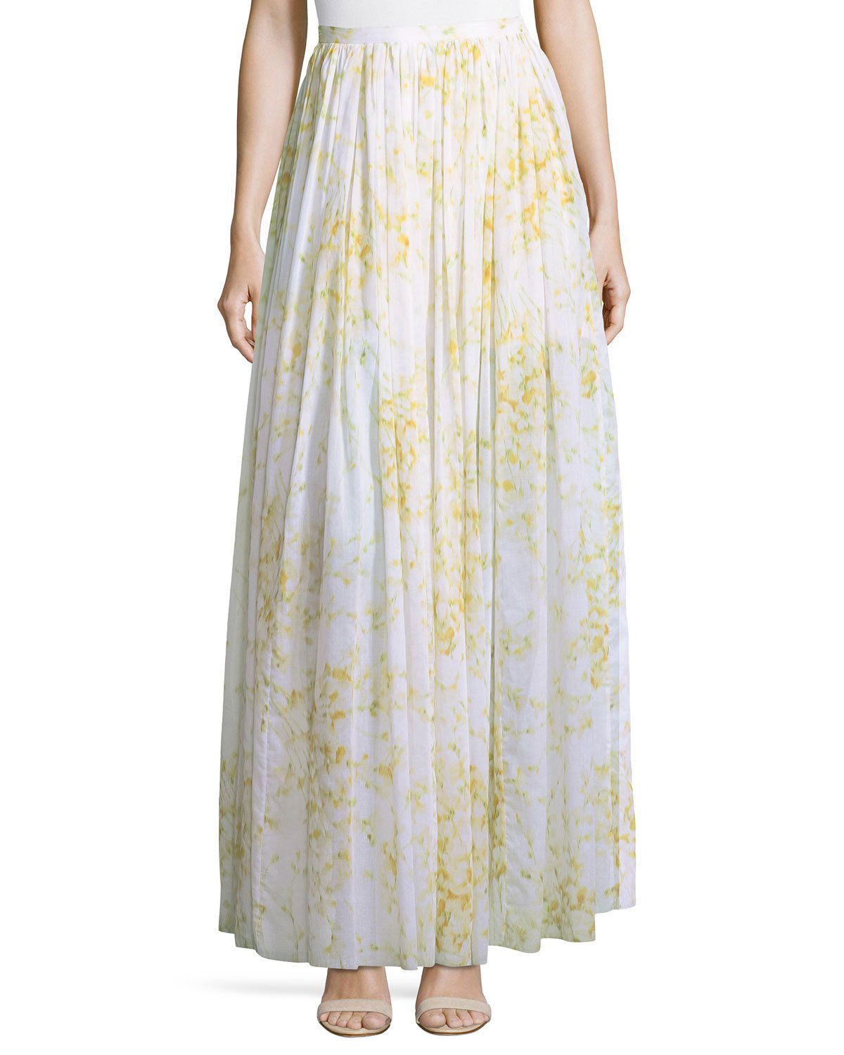 ab49979b1 Brock Collection Sweet Pea Floral-Printed Full Cotton Skirt In White ...