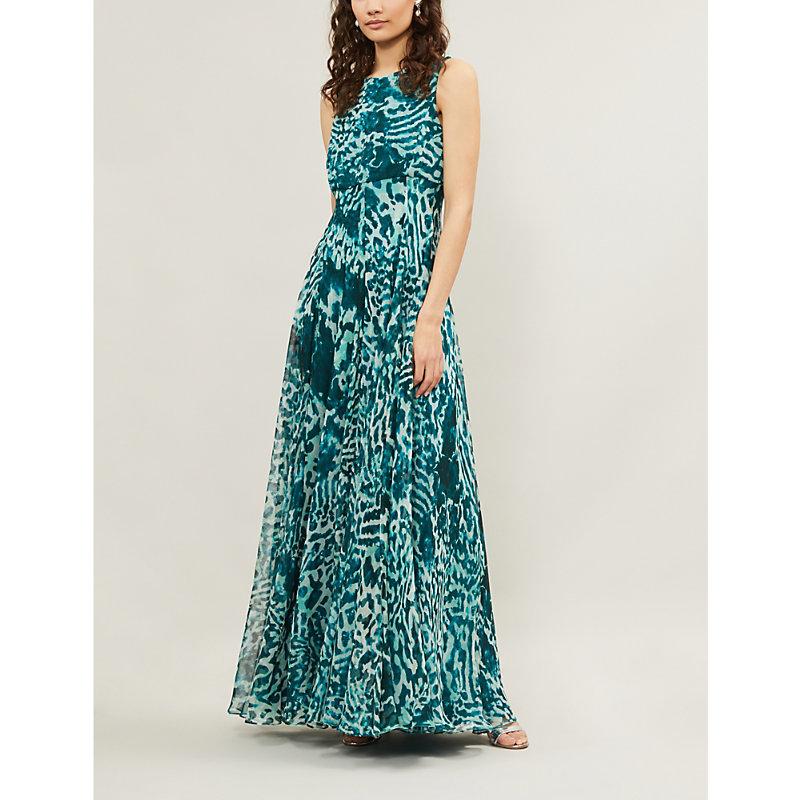 5a2e899471a Max Mara Lugano Leopard-Print Silk Maxi Dress In Green