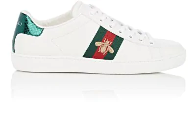 e105807220d Gucci Ace Watersnake-Trimmed Embroidered Leather Sneakers In 9064 Ivory