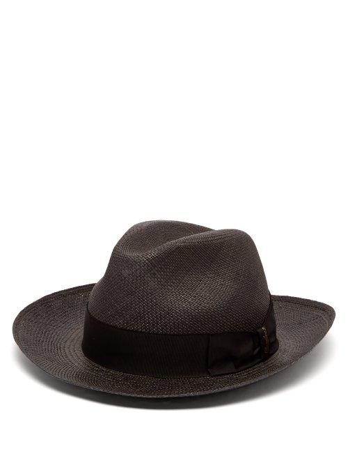 7b2d10c45b7b4e Borsalino - Quito Woven Straw Panama Hat - Mens - Navy | ModeSens