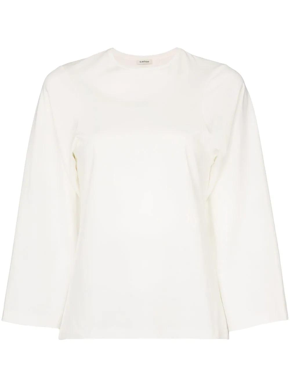 306b29a0db1eea TotÊMe Toteme Espera Three-Quarter Sleeve Cotton T-Shirt - White ...