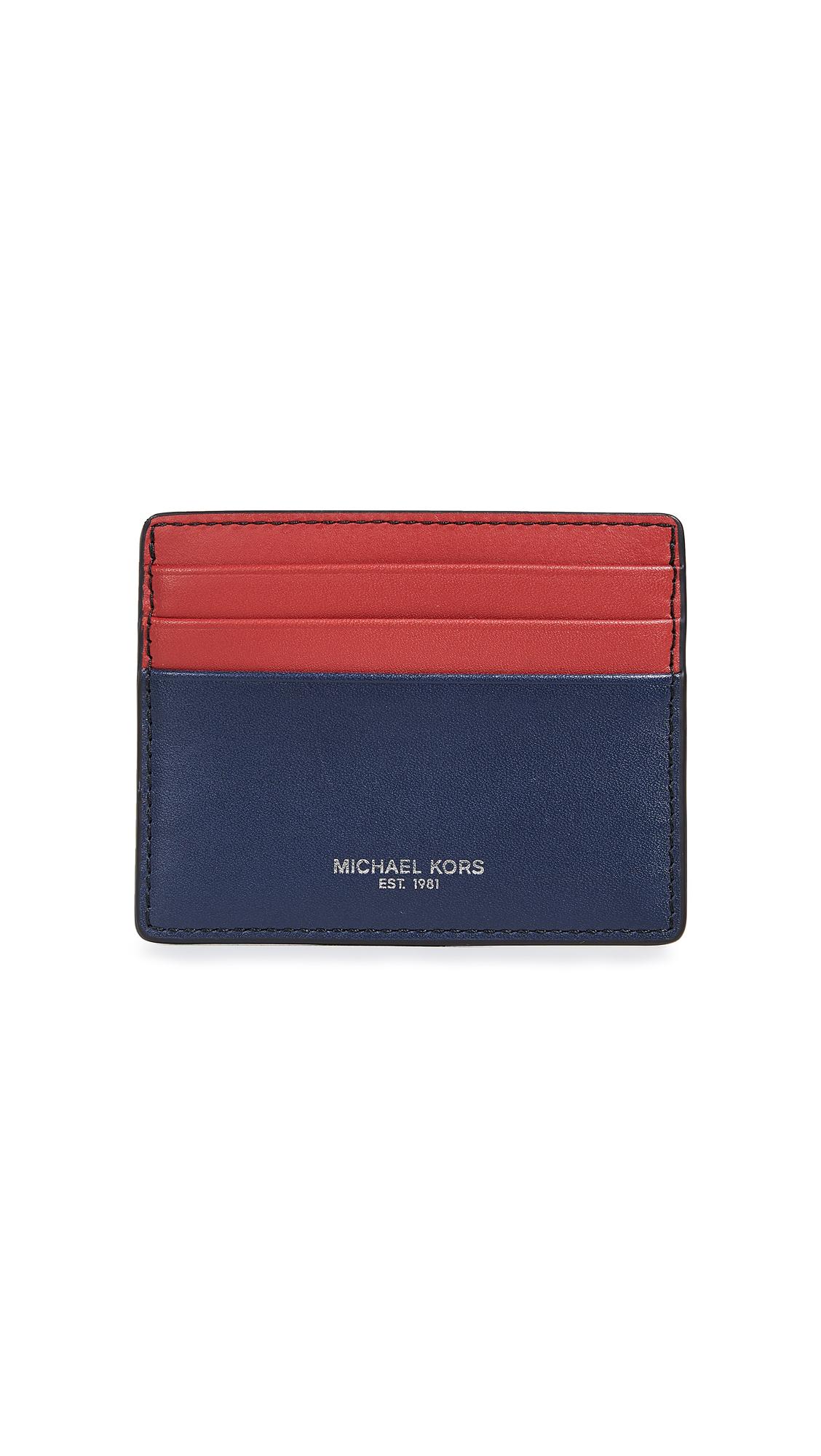 b17d3e3f48d277 Michael Kors Henry Tall Card Case In Navy/Crimson | ModeSens