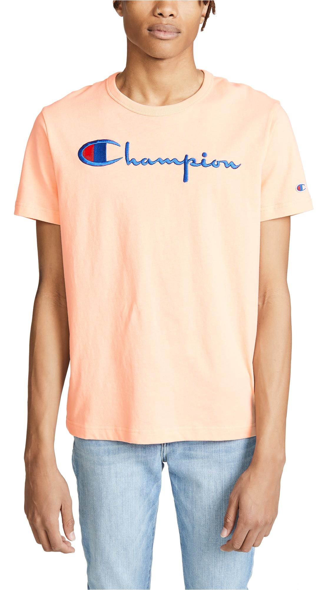 cc1e8e72 CHAMPION Men's Short Sleeve Crew Tee in Pink. Champion Men