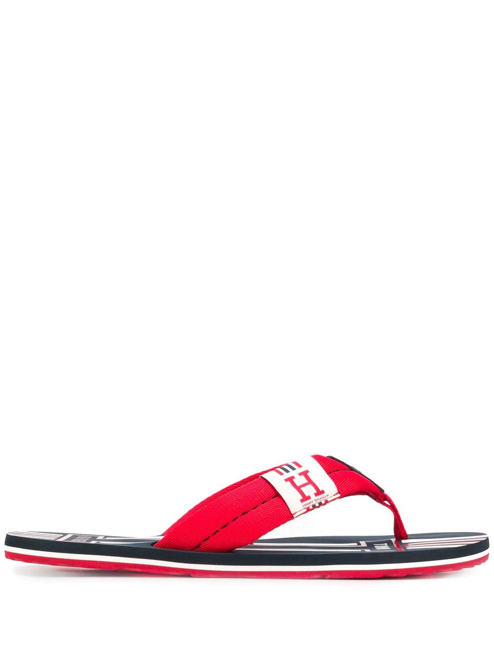 54b72598832992 Tommy Hilfiger Thong Strap Slides - Red