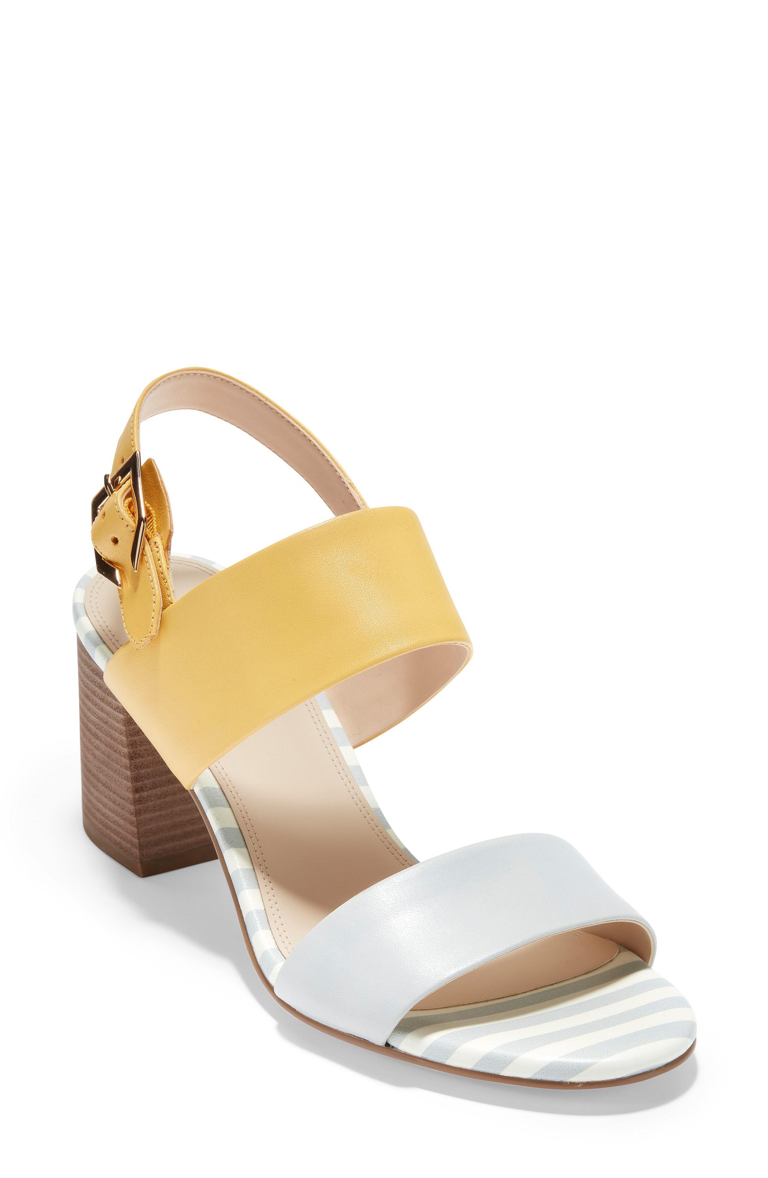 6a62694a1ee Cole Haan Avani Block Heel Sandal In Harbor Mist  Gold Leather ...