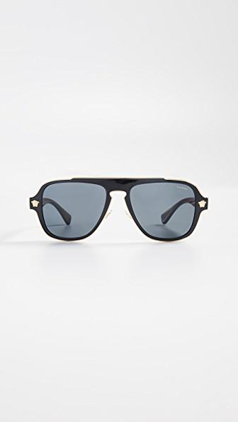 a19c131bff03 Versace Ve2199 Aviator Sunglasses In Black. Shopbop