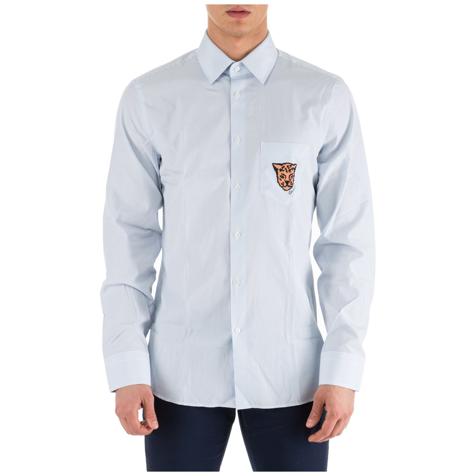 3300f26b Gucci Striped Leopard Crest Shirt In White | ModeSens